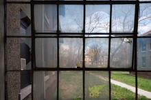 Broken Windows In Ellis Island Abandoned Psychiatric Hospital Interior Rooms