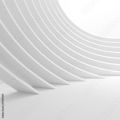 Poster Abstract wave White Architecture Circular Background. Abstract Tunnel Design. Modern Geometric Wallpaper