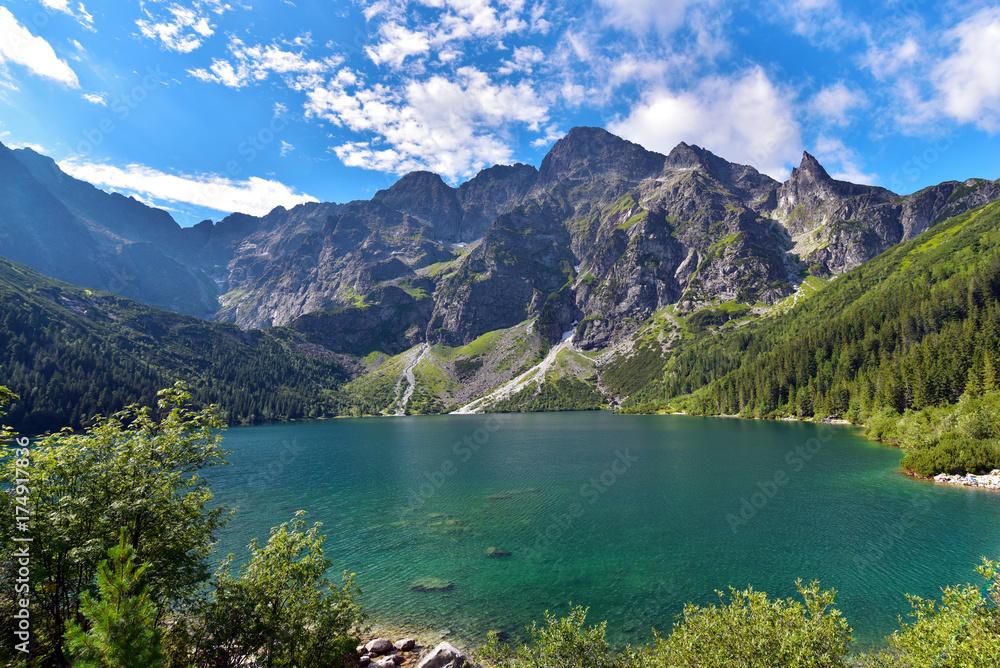Fototapety, obrazy: Poland Tatra National Park High Tatras Mt Morskie Oko Lake in summer