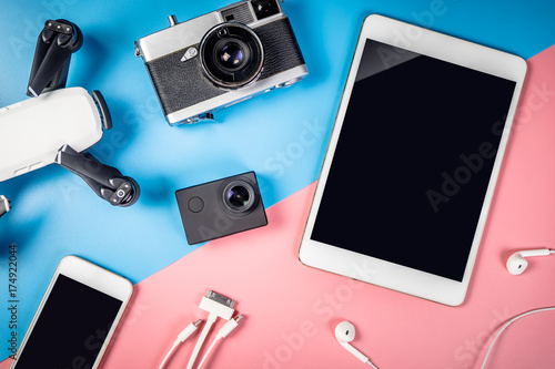 Travel gadgets and object with empty tablet screen for mock up