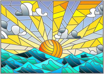 Naklejka Illustration in stained glass style with sea landscape, sea, cloud, sky and sun