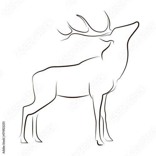 Standing black line deer on white background Canvas-taulu