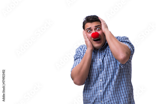 Fotografie, Obraz  Funny man clown isolated on white background