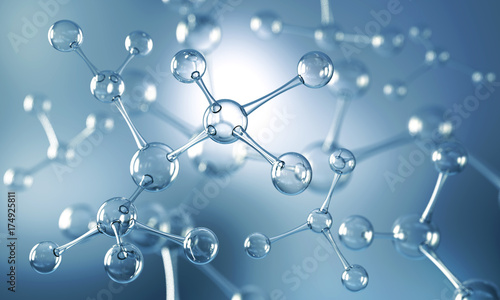 Fotografia  Abstract background of atom or molecule structure, Medical background, 3d illustration