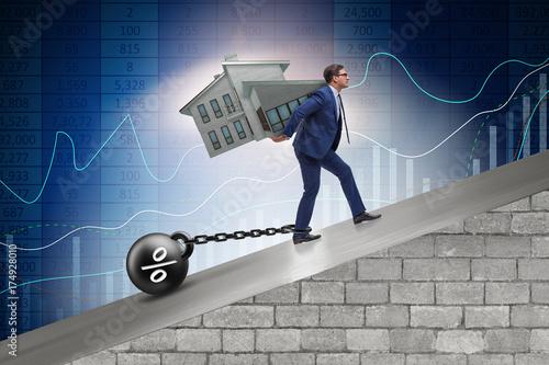 Fototapeta Businessman in mortgage debt financing concept obraz