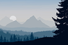 Vector Illustration Of A Mountain Landscape With Forest Under The Morning Gray Sky With Rising Sun And Clouds