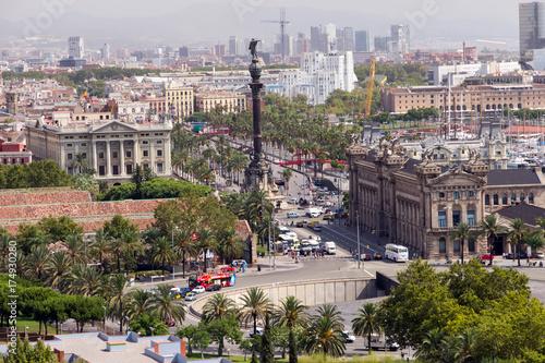 Obraz na dibondzie (fotoboard) Pomnik Kolumba w Barcelonie. Katalonia, Hiszpania.