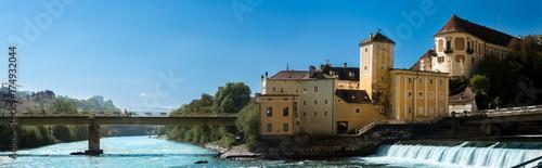 Fotografie, Obraz  Zusammenfluss von Enns und Steyr mit Schloss Lamberg