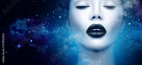 Poster - Fashion model girl portrait with trendy gothic black makeup