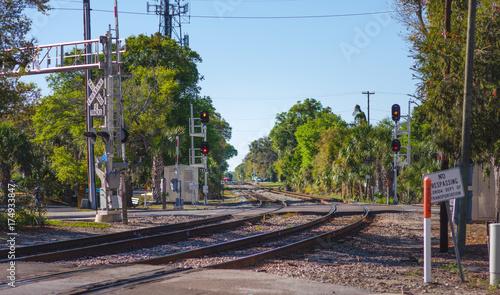 Valokuvatapetti US railway crossing