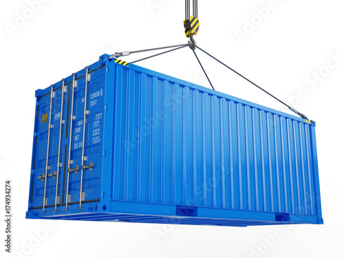 Foto Delivery, cargo, shipping concept - blue cargo container hoisted by crane hook isolated on white