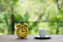 Time For Tea, Retro Alarm Clock And Tea Cups