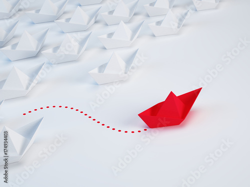 Obraz Business solution, innovation unique concept - Group of paper ship and one red ship with different way. 3d illustration - fototapety do salonu