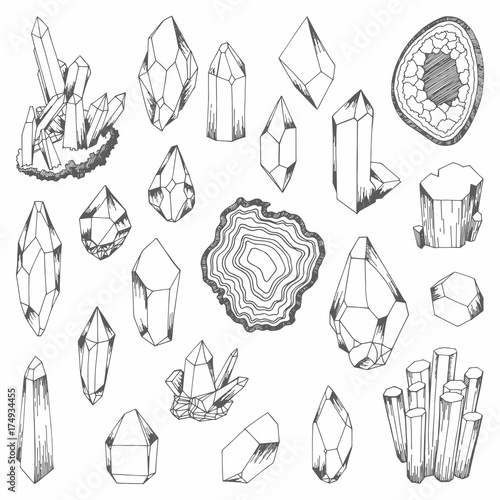 Fotografie, Obraz  Minerals. Set of vector illustrations for design