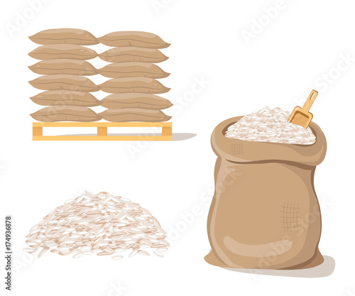Stampa su Tela Bags on Pallet. Sack with Pile of  Rice