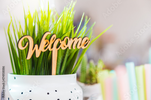 Fotografering  little wooden welcome sign in a white plant pot