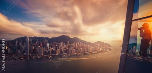 Obraz na dibondzie (fotoboard) Panoramę miasta Hongkong