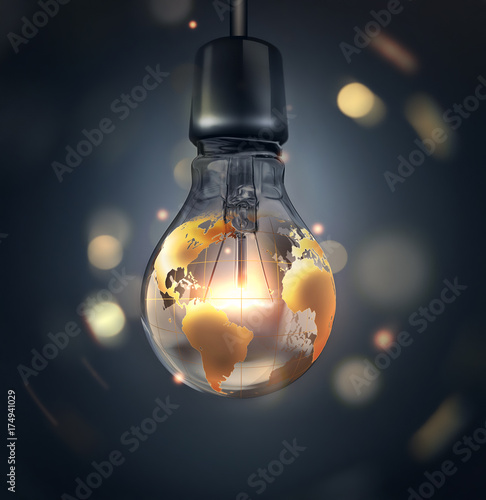 glowing light bulb with a world map Canvas Print