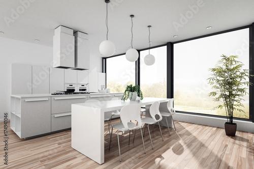 Traumhafte weiße Küche in Design Wohnung Tapéta, Fotótapéta