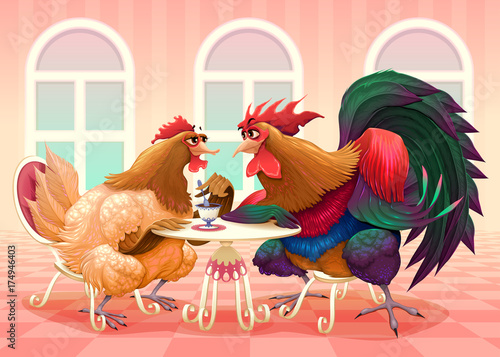 Poster Chambre d enfant Hen and rooster in a cafè