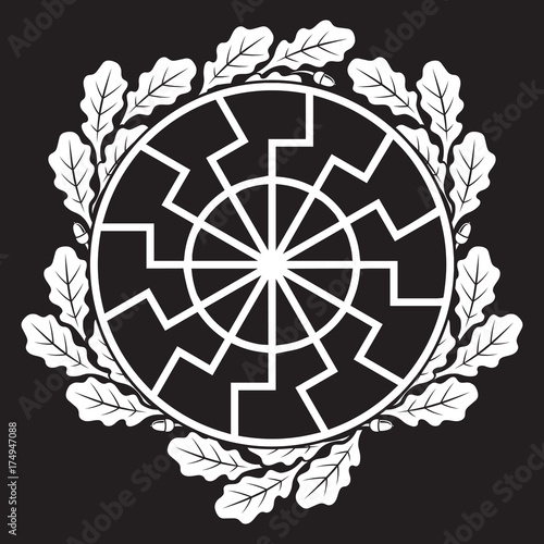 The ancient European esoteric sign - the black sun, and oak leafs Wallpaper Mural