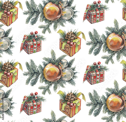 seamless-christmas-pattern-with-gifts-watercolor-hand-drawn-illustration