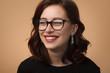 Leinwanddruck Bild - Charming woman in glasses
