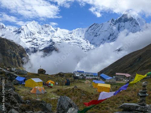 Fototapeta Tents in Annapurna Base camp, Amazing view to Mount Machapuchare, Fishtail mountain obraz na płótnie