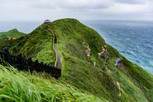 Asain Woman Enjoy The View Of Bitou Cape In Taiwan
