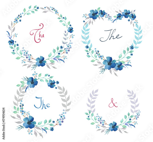 Photo sur Toile Papillons dans Grunge Vector Set of cute retro flowers arranged un a shape of the wreath perfect for wedding invitations and birthday cards