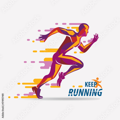 Fotomural running man vector symbol, sport and competition concept background