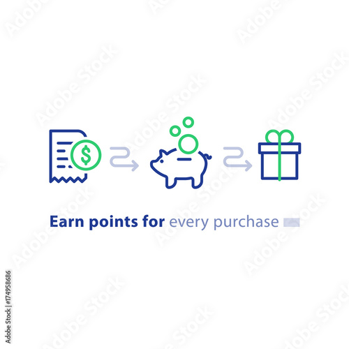 Fotografía  Loyalty program concept, earn points, win gift, shopping incentive, line icons