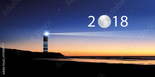 Fotografie, Obraz  2018 - carte de vœux - direction - objectif - phare - lune - année - repère - co
