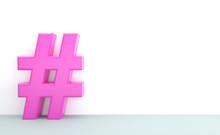Pink Hashtag Mit Thema Als Sch...