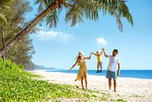 Happy Family Walking Beach Tourism