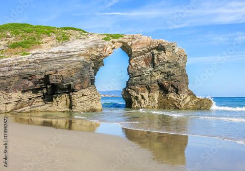 Scenic cliffs view of Praia das Catedrais, famous beach in Galicia, northern Spain
