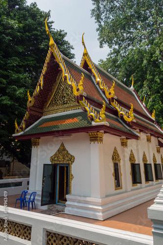 Thailand Bangkok small white temple Canvas