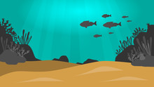 Under The Sea Vector Background With Sand, Fish, Rocks And Plants Silhouettes And Sun Beams