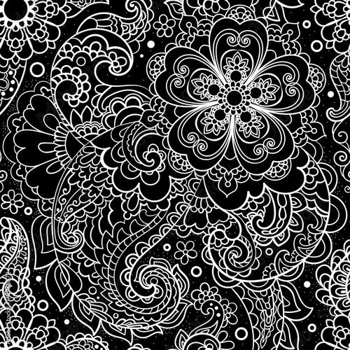 Plakat Paisley, turecki ogórek. Czarno-biały wzór rysowane ręcznie.