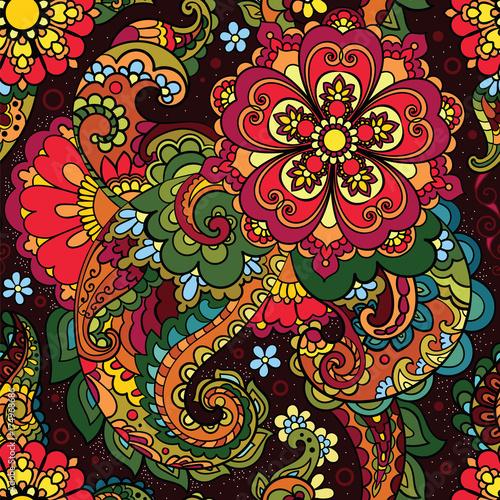 Zdjęcie XXL Azjatycki wzór. Paisley, turecki ogórek.