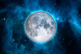 Full blue moon with star night sky background, Elements of this Image Furnished By NASA. Concept science, space, romantic. - 174969089