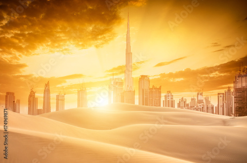 Tuinposter Dubai View of dubai skyline and desert