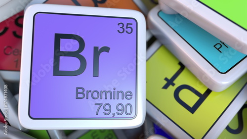 Bromine Br Block On The Pile Of Periodic Table Of The Chemical