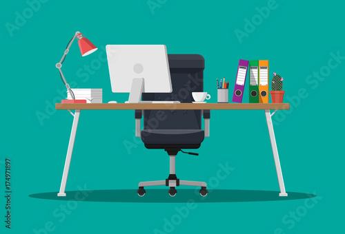 Valokuvatapetti Office desk with computer