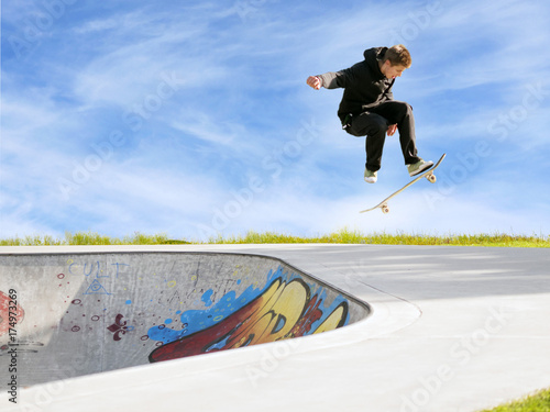 Tricks on the skateboard. Skate park. Ramp.