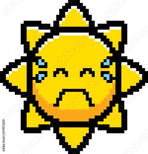 Photo Stands Pixel Crying 8-Bit Cartoon Sun