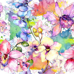 Fototapeta 3D Wildflower orchid flower pattern in a watercolor style. Full name of the plant: colorful orchid. Aquarelle wild flower for background, texture, wrapper pattern, frame or border.