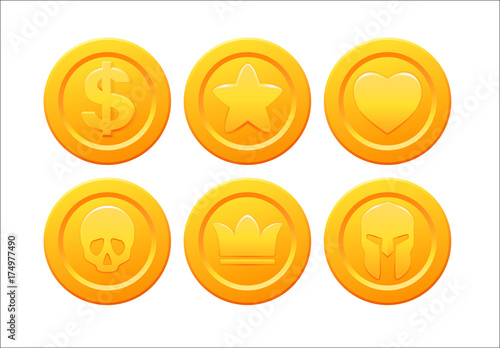 Fototapeta Set of stylized golden coin with star, crown, skull, heart ,dollar and helmet symbols. Collection for video game design. Stock vector illustration obraz