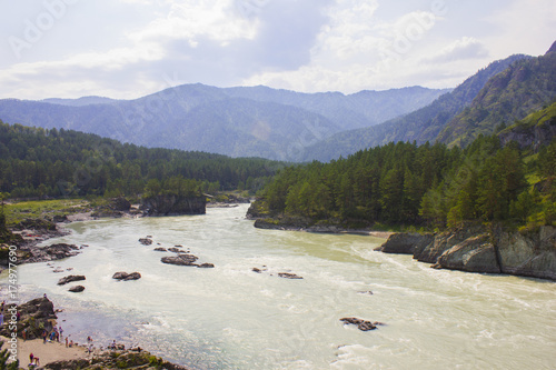 Cote Very beautiful mountain river Katun. Russia, Siberia, the Altai Mountains