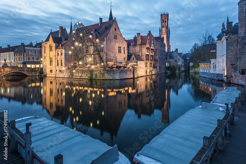 Foto op Canvas Brugge Rozenhoedkaai and the canals of Bruges at night, Belgium